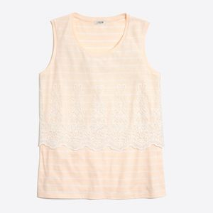 J. Crew •Embroidered Overlay Striped Tank Top M